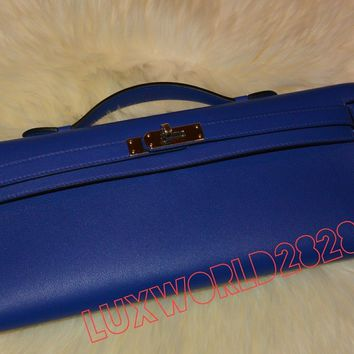 NIB HERMES KELLY CUT Evening Bag Clutch Blue Electric AUTHENTIC Super Rare