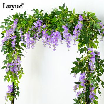 Luyue New Style 5 Flower String/pcs Artificial Wisteria Flower Rattan Wall Hanging Decor Simulation Fake Flower Vines Wedding