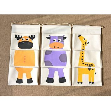 Zakka Style Cartoon Animal Door Hanging Bag Linen Cotton Hanging Organizer Wall Pockets For Kids Room Giraffe Dinosaur Flamingo