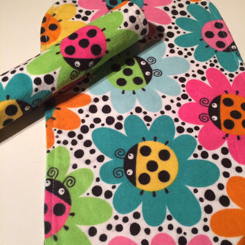 Handmade Baby Burp Cloths, Set of Two, Flannel, Baby Shower Gift, Ladybug Print
