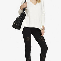 LACE INSET SEXY STRETCH LEGGING from EXPRESS