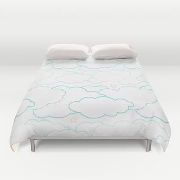 Cloud Dash Duvet Cover by Ariel Lark