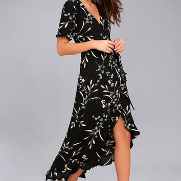 Wild Winds Black Floral Print High-Low Wrap Dress