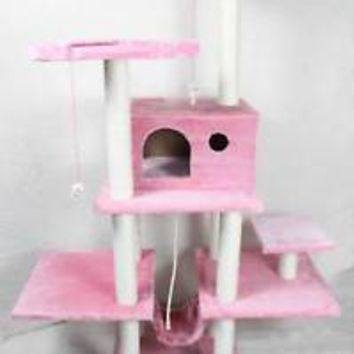 "70"" Cat Tree Condo Furniture Scratch Post Pet House 11P"