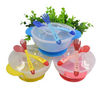 kids sensing temperature baby dinnerware set china dishes games bowl spoon fork set children's dishes christmas gift
