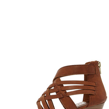 Madden Girl Honi Cognac Brown Caged Wedge Sandals