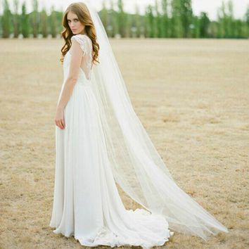 Don's Bridal 2016 New Bridal Veils with Comb 2 Meter 1 Layers Elegant Soft Tulle White Ivory Wedding Accessories Wedding Veil