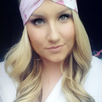Breast Cancer Inspirational Words and PInk ChevronTwist Headband