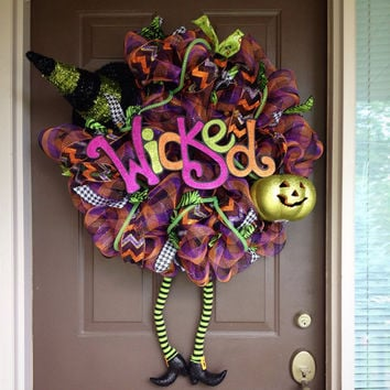 Witch wreath-wicked witch-halloween wreath