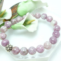 Natural Lilac Lepidolite Gemstone Stretch Bracelet 7 inch