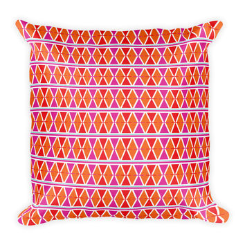 Bohemian Pink Orange Geometric Decorative Throw Pillow 18x18