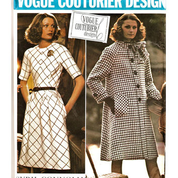 70's Vogue Couturier Design Pattern 2927 w LaBeL CONNOLLY  Tailored Feminine Perfection Dress & Coat Sz 10 Uncut FF Vintage Sewing Patterns