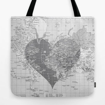 Heart Map Tote Bag, gray travel theme tote, everything bag, allover print, gift for mom, beach bag, travel bag
