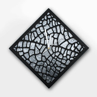 Black CLOCK Black wall clock, Black unique home decor silver black wall clock modern office decor