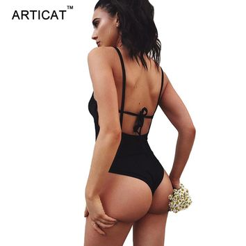 Articat Strappy Backless Bodysuit Women Tops Black Sleeveless Summer Beach Overalls Sexy Skinny Romers Womens Jumpsuit Cami Body