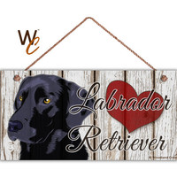 "Black Labrador Retriever Sign, Rustic Decor, Distressed Wood Sign with Red Heart, Weatherproof, 5"" x 10"" Sign, Love Dogs, Made To Order"
