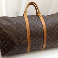 Auth Louis Vuitton Monogram Keepall Bandouliere 55 Travel Boston Bag 8C090200M