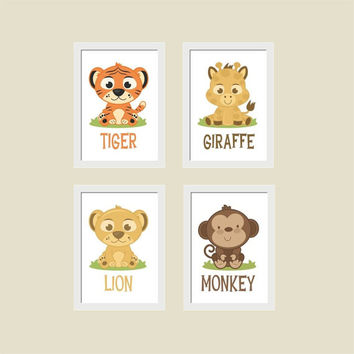 ZOO ANIMALS, Jungle, Nursery, Playroom, Kid's Room Wall Art Prints, Set of 4