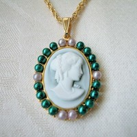Green and Gold Profile Cameo Necklace Hamilton Gold Rope Chain 18 Inch