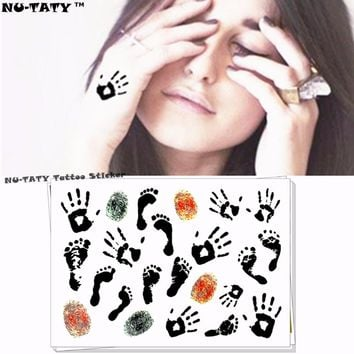 Nu-TATY palm feet fingerprint Temporary Tattoo Body Art Flash Tattoo Stickers 17*10cm Waterproof Fake Tatoo Car Styling Sticker