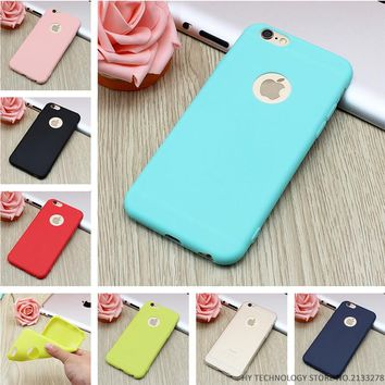 New Arrival Case For iPhone 7 Transparent Candy Colors Soft TPU Silicon Phone Cases For iPhone 6 6s 5 5s SE 7 7 Plus Coque Capa