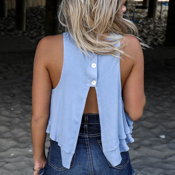 Manhattan Beach Blue Fly Away Open Back Crop Top
