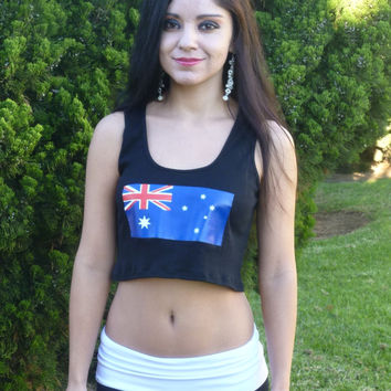 Australian Flag Black Ribbed Crop Top