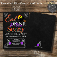 Printable Halloween Party Invitation, Halloween invitations,Halloween invite,Halloween Birthday,Costume Party, Eat drink and be Scary