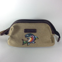 Men's Canvas Shave Kit Bag with Monogram and Hand Painted Trout