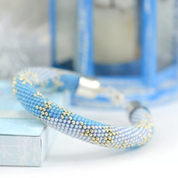 Silent Night - Christmas Bracelet Bead Crochet Bracelet Winter Snowflake Blue White Beadwork Bangle Bracelet Jewelry Modern