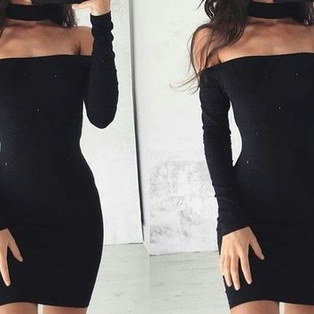 Black Off Shoulder Long Sleeve Bodycon Homecoming Dresses
