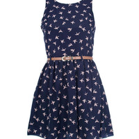 Navy Open Back Bird Printed Dress - Clothing - desireclothing.co.uk