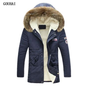 GOUHAI 2017 Winter Hooded Fur Casual Thermal Parkas Men Slim Fit Jacket Men Warm Coat M-5XL Plus Size Men Parka Homme