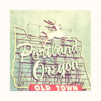 Portland photography, Oregon photograph, city deer sign, old town, Portland Dear, mint green retro, cherry red, Pacific NW travel