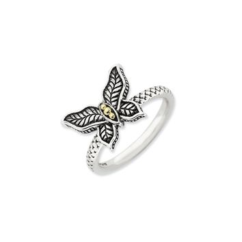 2.5mm Antiqued Sterling Silver & 14K Gold Plated Butterfly Stack Ring