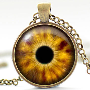 Amber Eye Necklace Third Eye Jewelry Evil Eye Charm by FrenchHoney