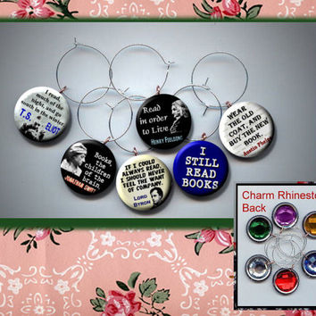 I LOVE to Read Set of 6 Altered Art Button WINE Glass Charms w/ Rhinestone