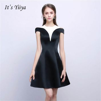 It's YiiYa Black And White O-neck Short Sleeves Knee-length Taffeta Formal Dresses Long Party Full Dress Vintage Porm Gown ZT013