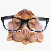 Vintage Eyeglasses Holder, Ceramic Dog Eye Glasses Stand / Cradle