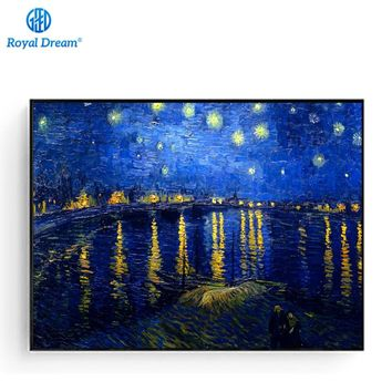Picture Hand Made Painting By Numbers DIY Crafts Digital Oil Painting decoration Wall Art by Van Gogh Star of the Lower Rhone