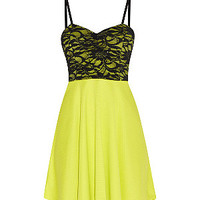 Cameo Rose Lime Green Contrast Lace Sequin Bustier Skater Dress