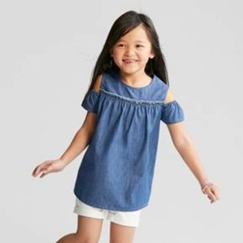 Girls' Denim Cold Shoulder Short Sleeve Top - Cat & Jack™ Blue