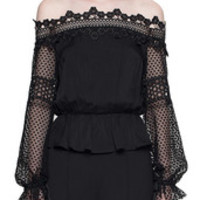 Self Portrait lace off shoulder blouse black