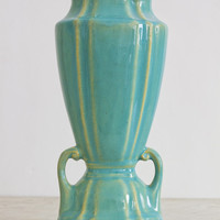 Turquoise Blue Glazed Art Deco Yellow Clay Vase | Cliftwood Pottery Circa 1930s