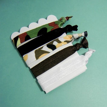 Set of 5 Camouflage Themed Fold Over Elastic Hair Ties
