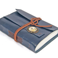 Navy Blue Faux Leather Journal with Cameo Bookmark - Ready To Ship -