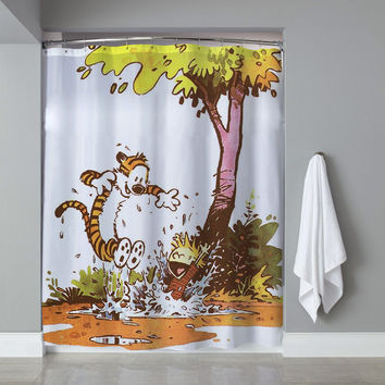 Calvin And Hobbes Playing Around Custom Shower Curtain Limited Edition