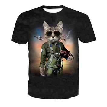 Cat Astronaut Print T-Shirt Men Space Planes 3D t shirts Casual Mens Plus Size Tees Funny Harajuku Gothic Tees Tops Streetwear