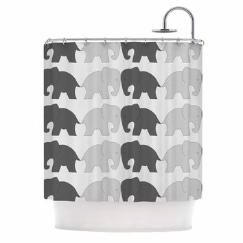 "NL Designs ""Elephants On Parade"" Gray Animals Shower Curtain"