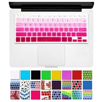 """DHZ® Orange Ombre Colors Series Keyboard Cover Silicone Skin Protector for MacBook Air 13"""" MacBook Pro All 13"""" 15"""" 17"""" inch (With or w/out Retina Display) and iMac Wireless Keyboard (Orange Ombre)"""